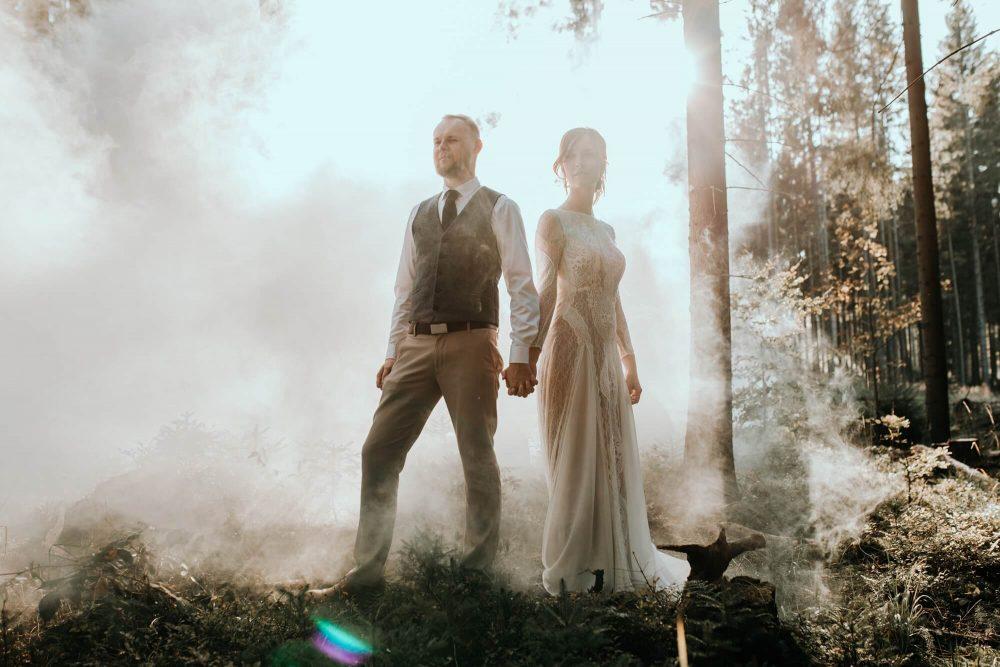 Sesja ślubna, Koniaków, las, para ślubna